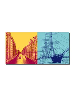 ART-DOMINO® BY SABINE WELZ Hamburg - Fleet/Speicherstadt + Rickmer Rickmers