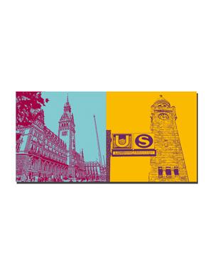 ART-DOMINO® by SABINE WELZ Hamburg - Town Hall + Landungsbrücken