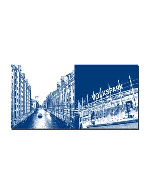 ART-DOMINO® by SABINE WELZ Hamburg - Fleet/Speicherstadt + Volksparkstadion