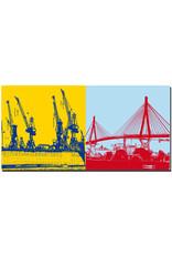 ART-DOMINO® BY SABINE WELZ Hamburg - Hafenkräne + Köhlbrandbrücke