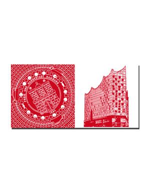 ART-DOMINO® BY SABINE WELZ Hamburg - Bodendeckel + Elbphilharmonie