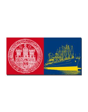 ART-DOMINO® BY SABINE WELZ Hamburg - Wappen HH + Cap San Diego