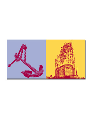 ART-DOMINO® by SABINE WELZ Hamburg - Anker im Hafen + Elbphilharmonie