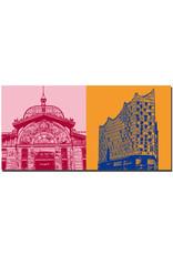 ART-DOMINO® by SABINE WELZ Hamburg - Fischauktionshalle + Elbphilharmonie