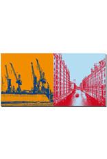 ART-DOMINO® by SABINE WELZ Hamburg - Hafenkräne + Fleet/Speicherstadt