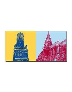 ART-DOMINO® BY SABINE WELZ Lüneburg - Wasserturm + St. Johanniskirche