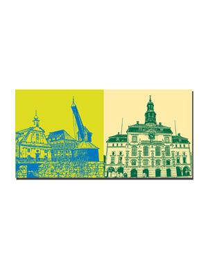 ART-DOMINO® BY SABINE WELZ Lüneburg - Alter Kran + Rathaus