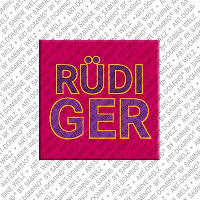 ART-DOMINO® by SABINE WELZ Rüdiger - Magnet mit dem Vornamen Rüdiger