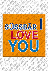 ART-DOMINO® by SABINE WELZ Süssbär I Love You - magnet with text