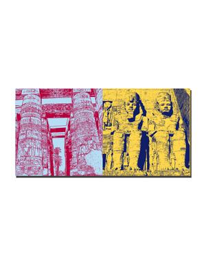 ART-DOMINO® BY SABINE WELZ Ägypten - Luxor: Karnak-Tempelanlage Säulenhalle + Abu Simbel- Tempelanlage für Ramses II-d
