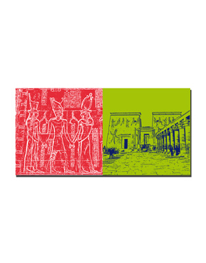 ART-DOMINO® BY SABINE WELZ Ägypten - Chnum mit Krone von Ober- und Unterägypten + Isis-Tempel von Philae