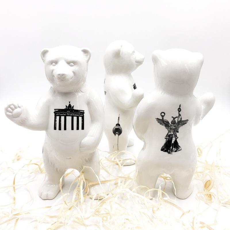 ART-DOMINO® BY SABINE WELZ Porcelain bear from Berlin - With Berlin Tattoos