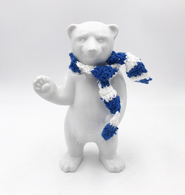 ART-DOMINO® BY SABINE WELZ BEAR OF BERLIN - 15 cm - With blue and white scarf