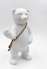 ART-DOMINO® BY SABINE WELZ Porcelain bear from Berlin - With black, red and yellow sash