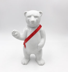 ART-DOMINO® BY SABINE WELZ BEAR OF BERLIN - 15 cm - With red sash