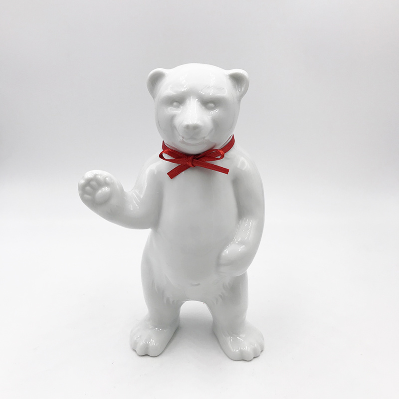 ART-DOMINO® BY SABINE WELZ Porcelain bear from Berlin - With red collar