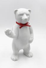 ART-DOMINO® BY SABINE WELZ Berliner Bär aus Porzellan - Mit Rotem Halsband