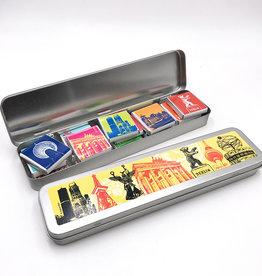 ART-DOMINO® BY SABINE WELZ Chocolat à motifs berlinois dans une boîte métallique