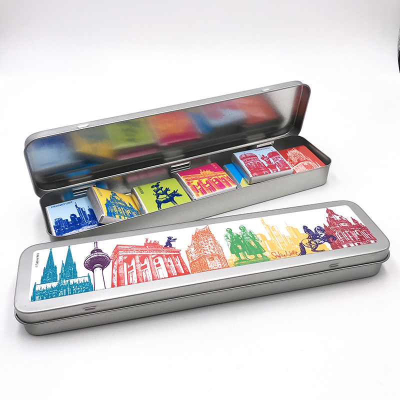 ART-DOMINO® BY SABINE WELZ Chocolate with Germany motifs in a metal tin