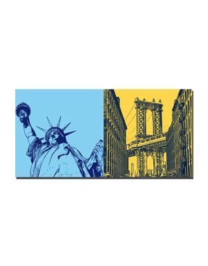 ART-DOMINO® BY SABINE WELZ New York - Statue of Liberty and Manhattan Bridge