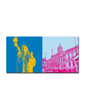 ART-DOMINO® BY SABINE WELZ New York - Statue of Liberty and City Hall