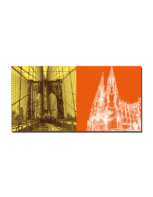 ART-DOMINO® BY SABINE WELZ New York - Wall Street - Brooklyn Bridge and St. Patrick`s Cathedral