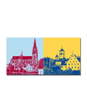 ART-DOMINO® BY SABINE WELZ Regensburg - Dom St. Peter + Blick auf Regensburg