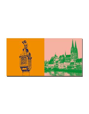 ART-DOMINO® BY SABINE WELZ Regensburg - Bruckmandl auf Steinerner Brücke + Blick über die Donau