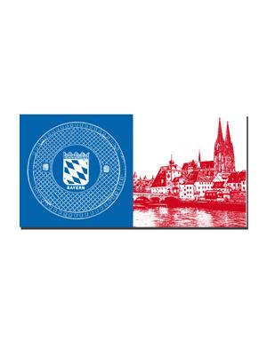 ART-DOMINO® BY SABINE WELZ Regensburg - Bodendeckel Bayern + Blick über die Donau
