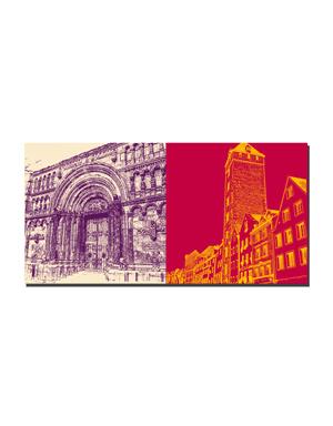 ART-DOMINO® BY SABINE WELZ Regensburg - Romanische Schottenkirche + Goldener Turm - Patrizierturm