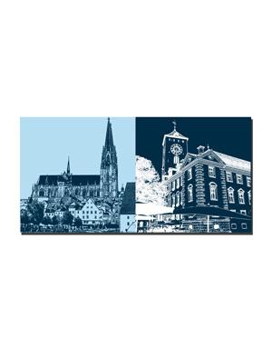 ART-DOMINO® BY SABINE WELZ Regensburg - Dom St. Peter + Rathaus