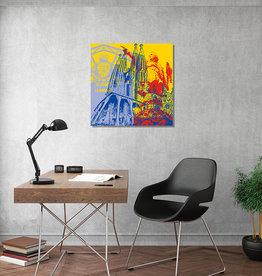ART-DOMINO® BY SABINE WELZ Art sur toile - City-Collage-Barcelona