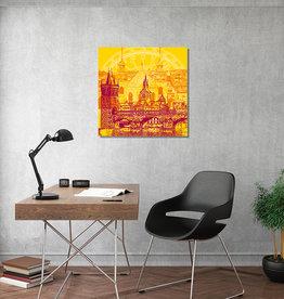 ART-DOMINO® BY SABINE WELZ Leinwandbild - Stadt-Collage-Prag