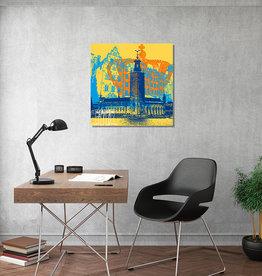 ART-DOMINO® BY SABINE WELZ Leinwandbild - Stadt-Collage-Stockholm