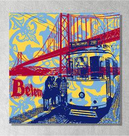ART-DOMINO® BY SABINE WELZ Art sur toile - City-Collage-Lisbonne