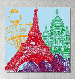 ART-DOMINO® BY SABINE WELZ Art sur toile - City-Collage-Paris