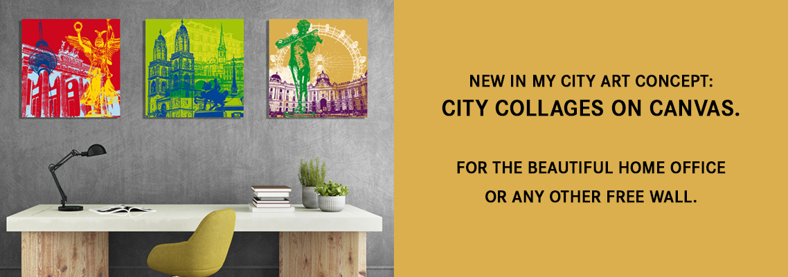 City collages on canvas