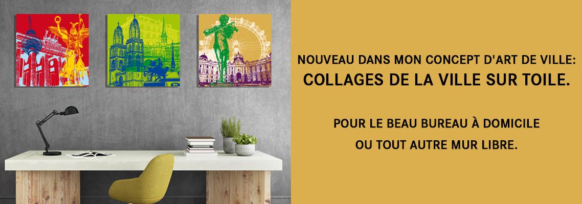 Collages de la ville sur toile