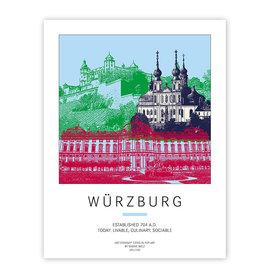 ART-DOMINO® BY SABINE WELZ POSTER - WÜRZBURG