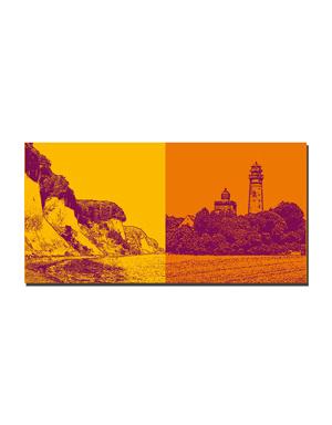 ART-DOMINO® BY SABINE WELZ Rügen - Küste mit Kreidefelsen + Kap Arkona - Leuchttürme