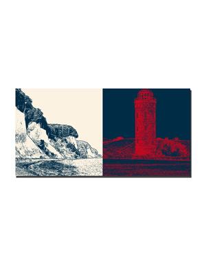 ART-DOMINO® BY SABINE WELZ Rügen - Küste mit Kreidefelsen + Kap Arkona - Peilturm