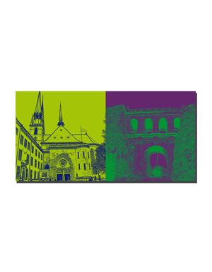 ART-DOMINO® BY SABINE WELZ Luxemburg - Kathedrale 'Unserer Lieben Frau' + Schloßbrücke