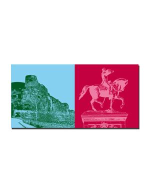 ART-DOMINO® BY SABINE WELZ Luxemburg - Bockfelsen mit Kasematten + Reiterstandbild Wilhelm II von Oranien-Nassau