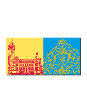 ART-DOMINO® BY SABINE WELZ Luxemburg - Sparkasse-Staatsbank + Wappen