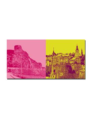 ART-DOMINO® BY SABINE WELZ Luxemburg - Bockfelsen mit Kasematten + Skyline rechts