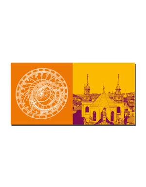 ART-DOMINO® BY SABINE WELZ Prag - Astronomische Uhr + Ausblick Prag/Anschnitt