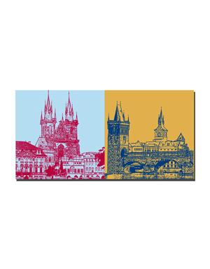 ART-DOMINO® BY SABINE WELZ Prag - Altstädter Ring - Staromestske namesti + Karlsbrücke