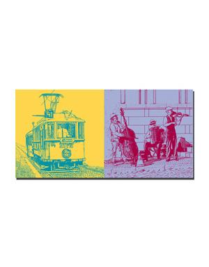 ART-DOMINO® BY SABINE WELZ Prag - Strassenbahn + Jazz-Musiker