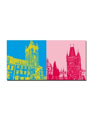 ART-DOMINO® BY SABINE WELZ Prag - Altstädter Rathaus + Altstädter Brückenturm - Brückenansicht