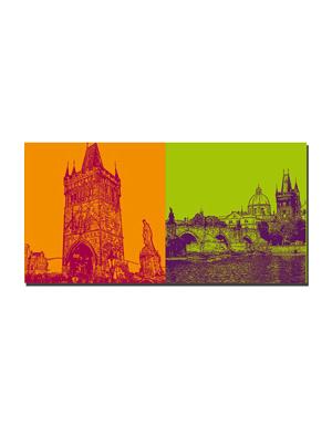 ART-DOMINO® BY SABINE WELZ Prag - Altstädter Brückenturm + Karlsbrücke
